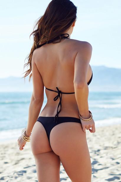 Solid Black Triangle Top & Sexy Brazilian Cut Thong Bikini