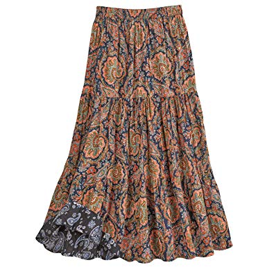 CATALOG CLASSICS Women's Paisley Print Reversible Broomstick Skirt