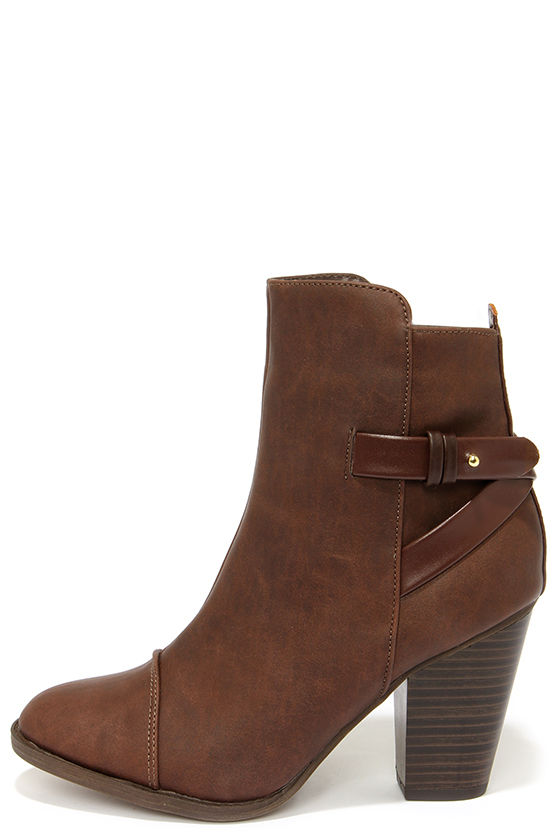 Cute Brown Boots - High Heel Boots - Ankle Boots - $38.00