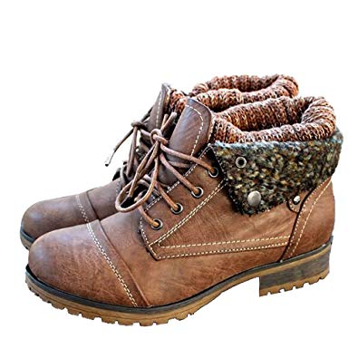 Amazon.com   Fashare Womens Knit Fold Down Combat Boots Faux Leather