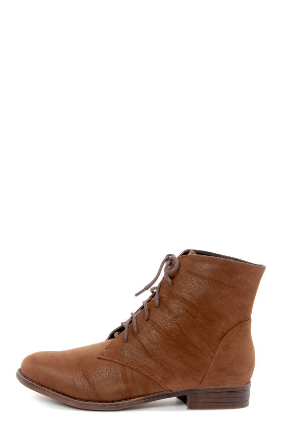 Dollhouse Dandy Chestnut Brown Suede Lace-Up Ankle Boots - $39.00
