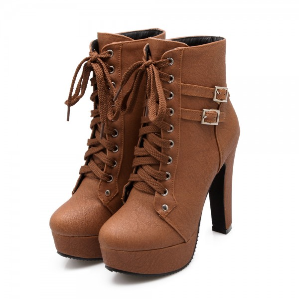 Tan Short Boots Vegan Leather Lace up Platform Chunky Heel Ankle