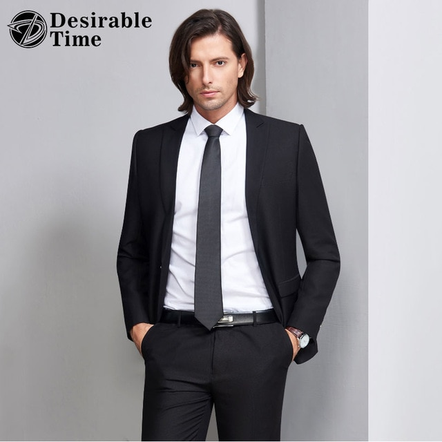 Desirable Time Slim Fit Black Suit Men Tuxedos S 3XL Costume Homme