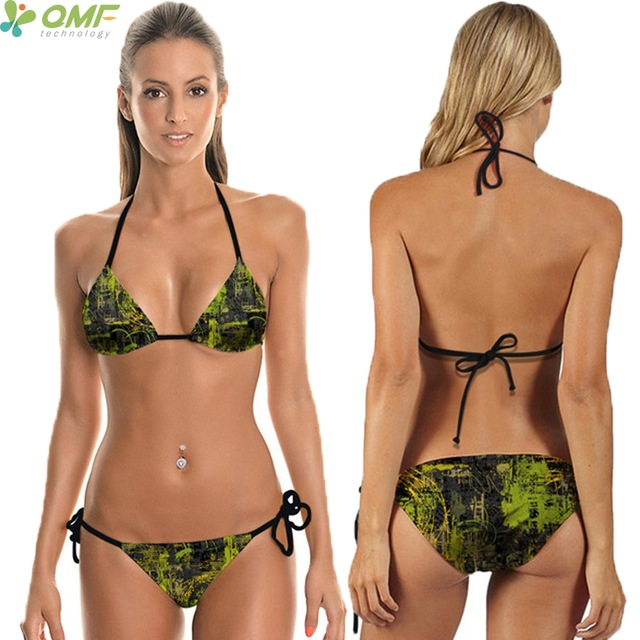 2018 Green Camo Bikinis Set Printed Camouflage Pattern Swimsuits