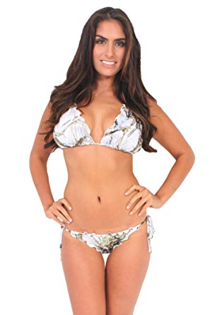 Amazon.com: Women's Camo Bikini True Timber Ruffled Swimsuit: WHITE