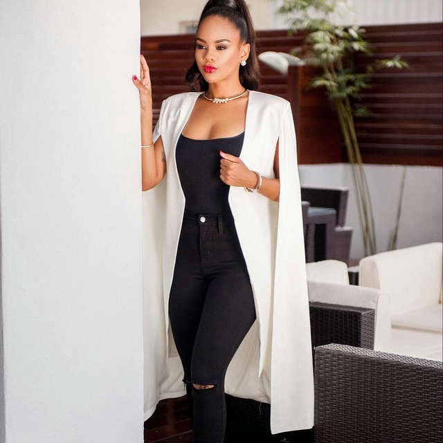 2018 Fashion Blazer Cape Coats Long Solid Cloak OL Blazer Jackets