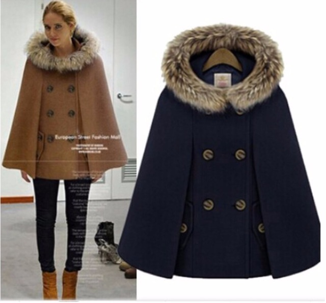 Woman England Style Woolen Coats Double Breasted Batwing Sleeve Cape