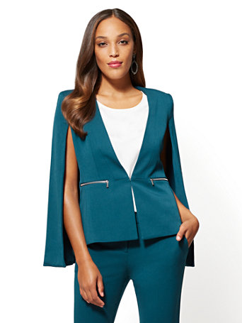 NY&C: 7th Avenue Teal Cape Jacket
