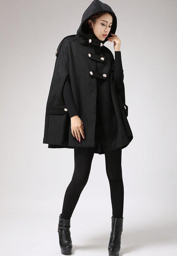 Black cape wool cape cape coat wool cloak womens cape   Etsy