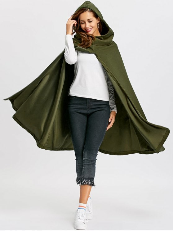 2019 Hooded Cape Coat In ARMY GREEN L | ZAFUL