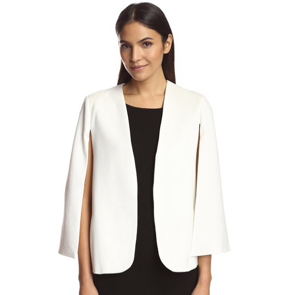 Jackets & Coats | White Cape Blazer Cream Collarless Classic Jacket