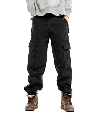 Idopy Men`s Loose Fit Motorcycle Multi-Pockets Workwear Denim Cargo