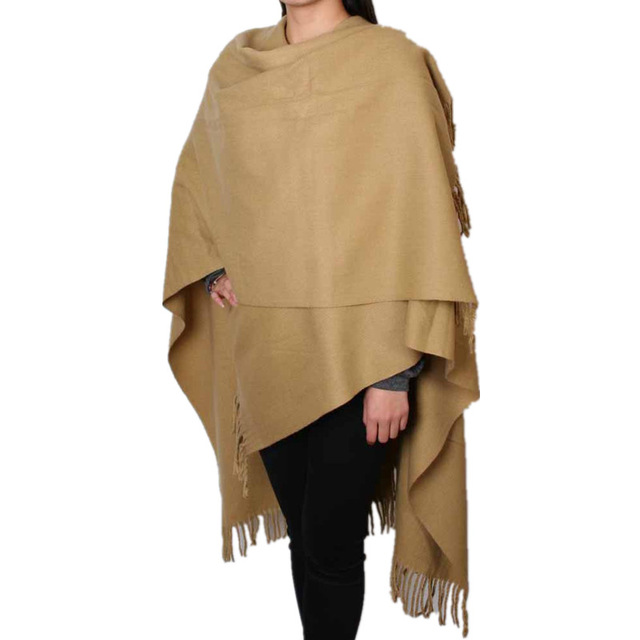 Fashion Camel Women's 100% Wool Pashmina Scarf Winter Thick Cashmere