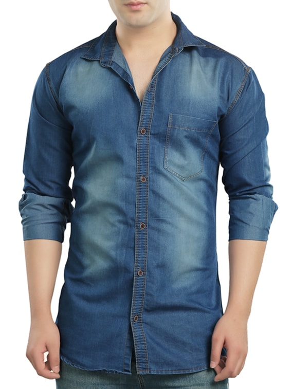 Buy Light Blue Denim Casual Shirt by Copper Line - Online shopping