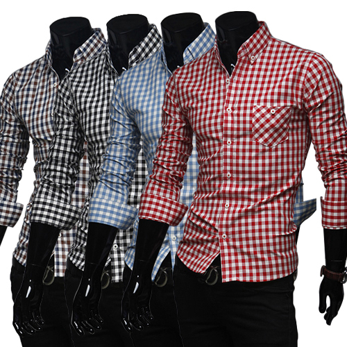 free shipping new men's casual shirts Multicolor plaid decoration