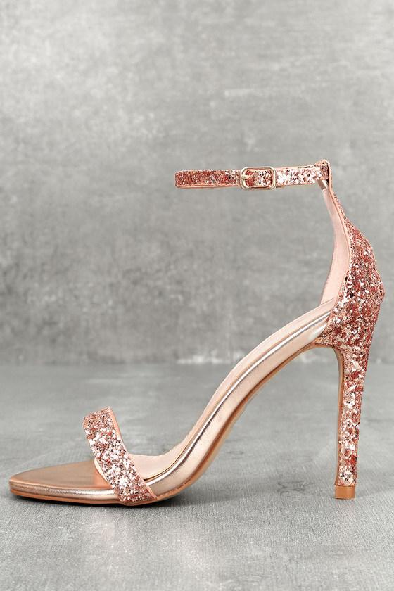 Stunning Silver Heels - Champagne Heels - Ankle Strap Heels