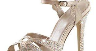 Amazon.com | Summitfashions Womens Champagne High Heels Peep Toe