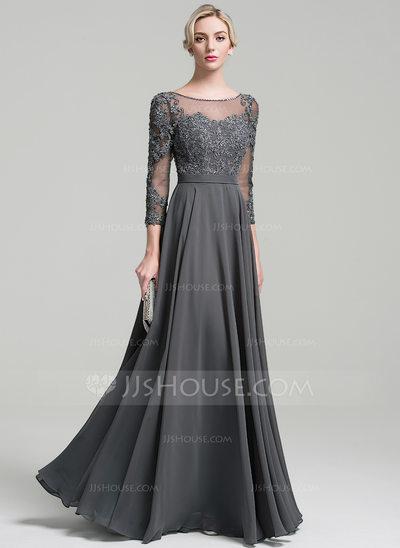 A-Line/Princess Scoop Neck Floor-Length Chiffon Evening Dress With