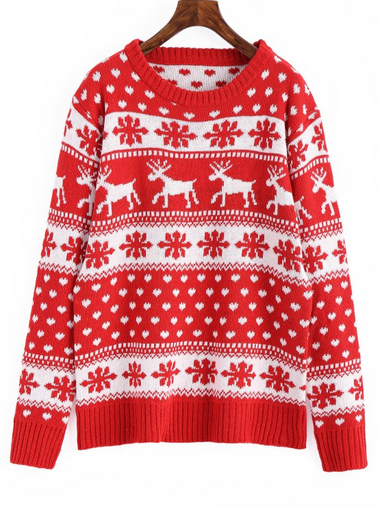 37% OFF] 2019 Snowflakes Elk Graphic Christmas Sweater In RED ONE