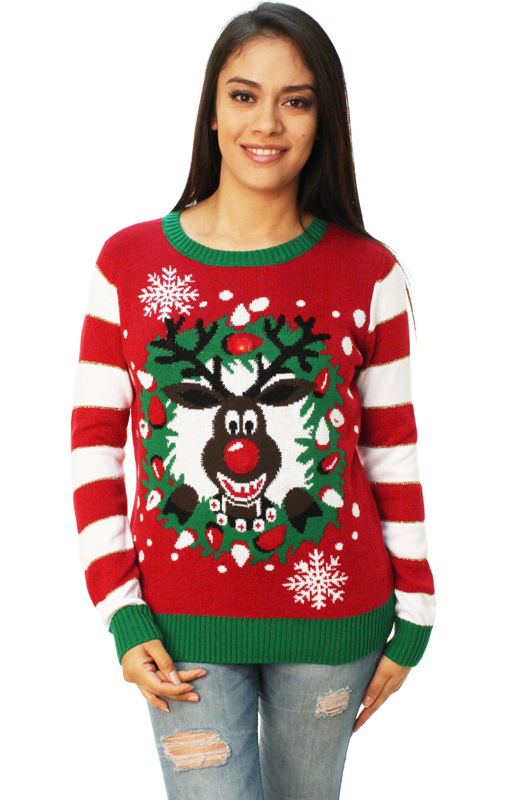 Ugly Christmas Sweater - Ugly Christmas Sweater Women's Rudolph LED