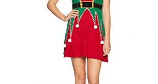 Ugly Christmas Sweater Company Women's Elf Sweater Dress at Amazon