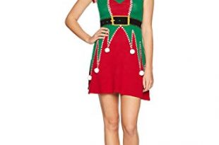 Ugly Christmas Sweater Company Women's Elf Sweater Dress at Amazon