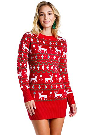 Amazon.com: Women's Red Christmas Sweater Dress - Reindeer Ugly