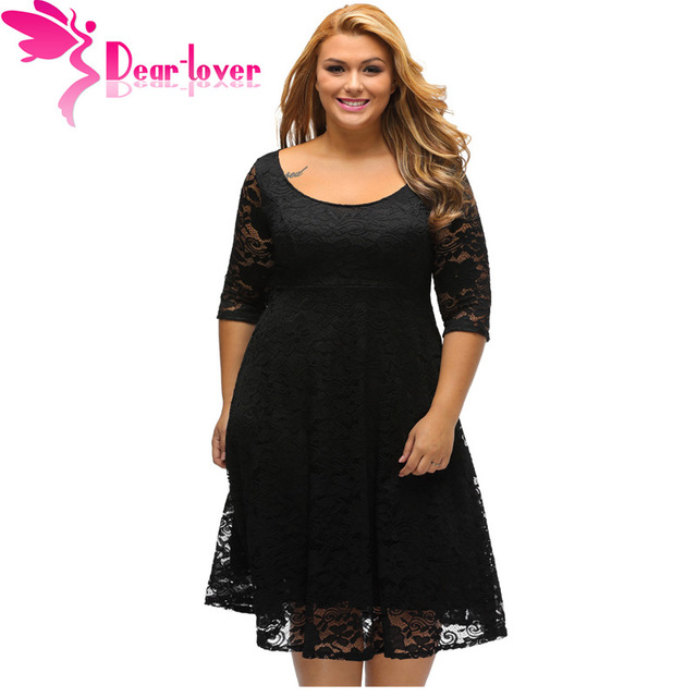 Dear Lover Autumn Dress Plus Size Women Clothing White/Black Floral