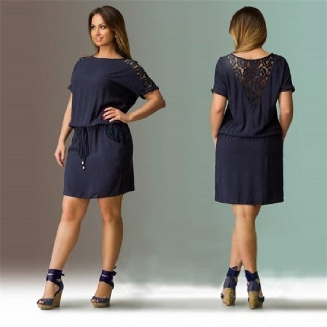 2017 Navy Summer Dress Plus Size Women Clothing Large Size Loose