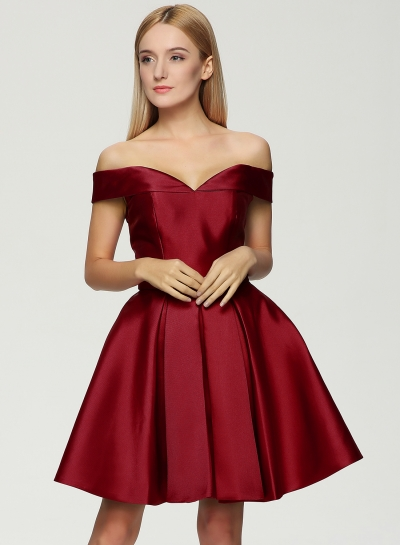 Fashion Off the Shoulder Lace-up Fit Flare Cocktail Dress - NOVASHE.com