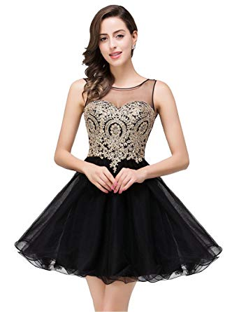 MisShow 2019 Women's Cocktail Dresses Crystals Applique Short Prom
