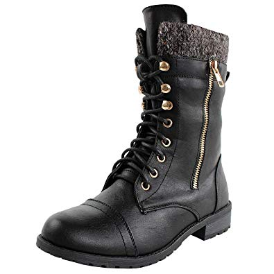 Amazon.com | Forever Link Womens Mango-31 Round Toe Military Lace Up