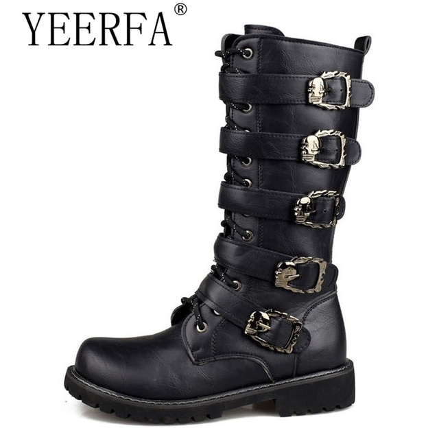 YIERFA Men Black Retro Combat Boots Belt Buckle Punk Martin