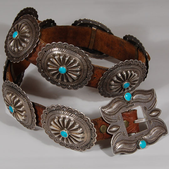 Diné Navajo Silver and Turquoise Old Concha Belt Southwest Indian