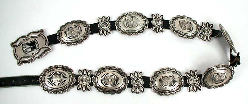 Authentic Native American vintage sterling silver concho belt
