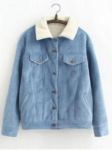 2019 Vintage Sherpa Fleece Corduroy Jacket | Rosegal.com