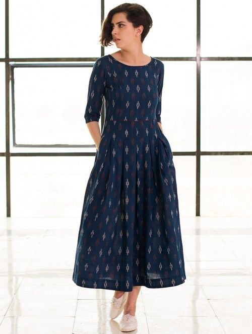 Buy Blue Box Pleated Handloom Ikat Cotton Dress Online in 2019