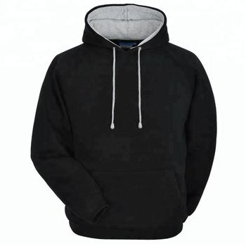 Wholesale Plain Hoodies 100% Cotton Plain Black Hoodie/custom Made