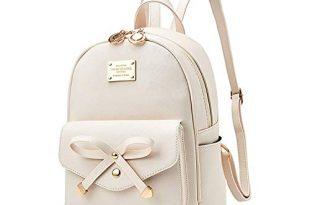 Amazon.com: Girls Bowknot Cute Leather Backpack Mini Backpack Purse