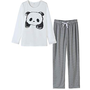 VENTELAN Women Pajamas Cute Sleepwear With Panda Pattern Long