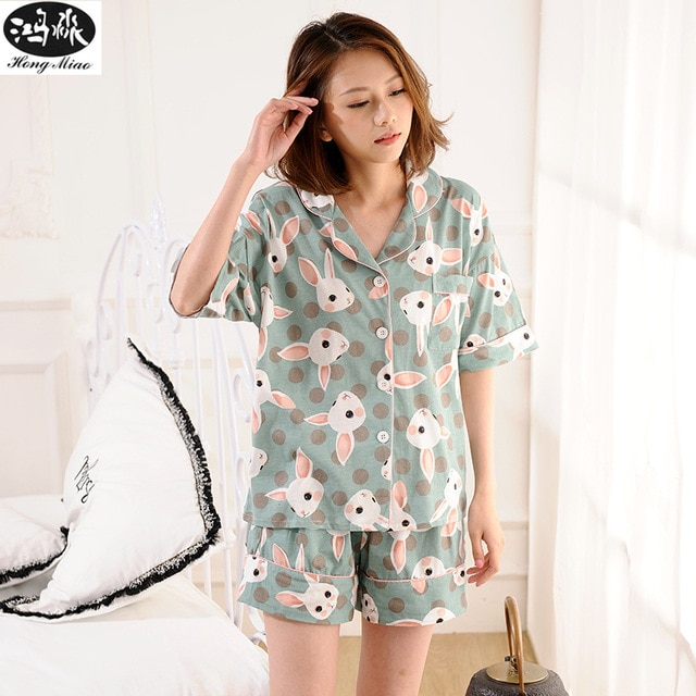 Summer Cute Shorts Pajamas Sets Women Cotton Rabbit Printed Pijamas