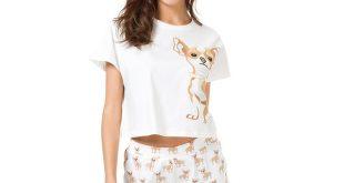 Cute Pajama Sets Cotton Chihuahua Print Crop Top + Shorts 2 Pieces