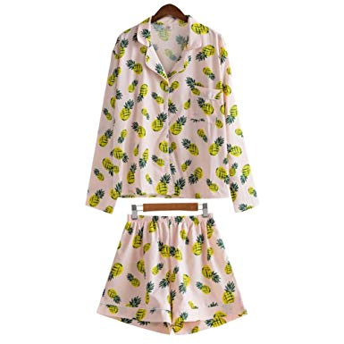 Women Cute Pajamas Set Pineapple Print 3 Pieces Kawaii Korean