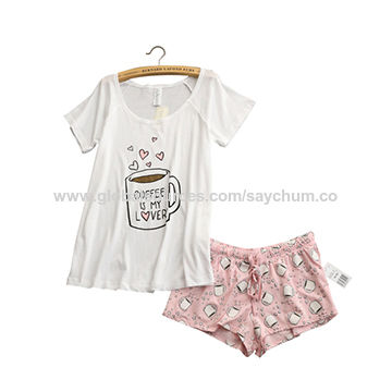 China Cute pajamas sets with white and pink/grey and green color