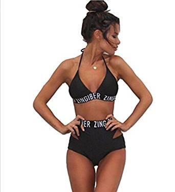 Amazon.com: Cute Tie Up Halter High Waist 2 Pieces Bikini Swimsuits