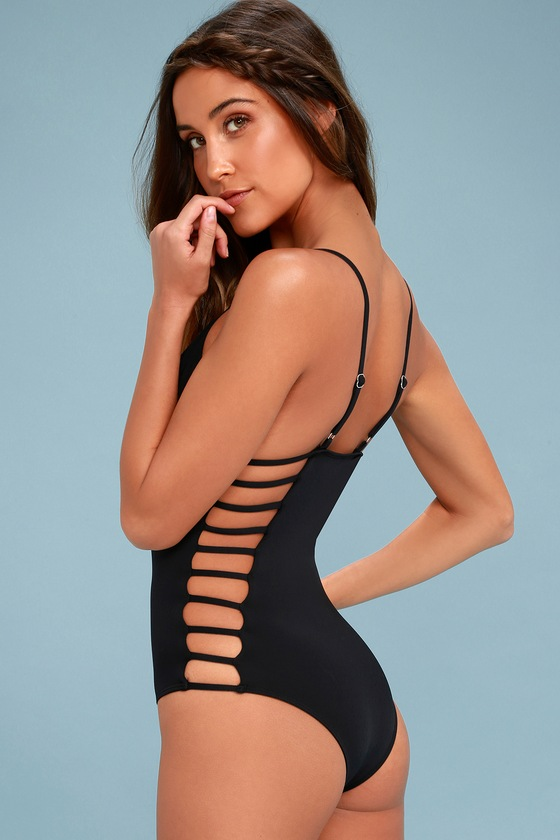 Cute Black Swimsuit - One Piece Swimsuit - Cutout Swimsuit