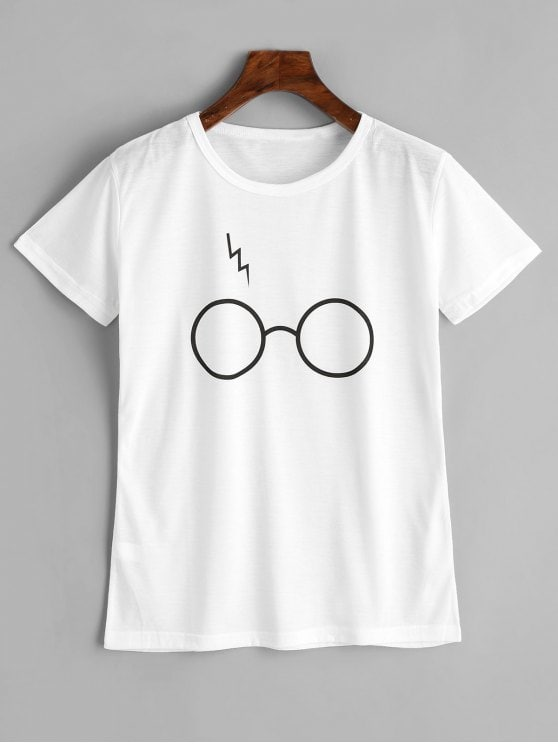 2019 Cute Glasses Graphic T Shirt In WHITE S | ZAFUL