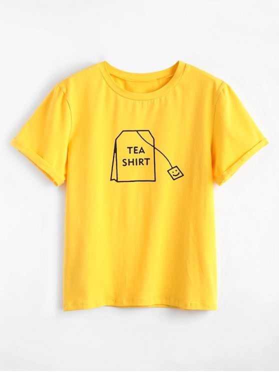 30% OFF] 2019 Tabs Graphic Cute T Shirt In BRIGHT YELLOW L | ZAFUL