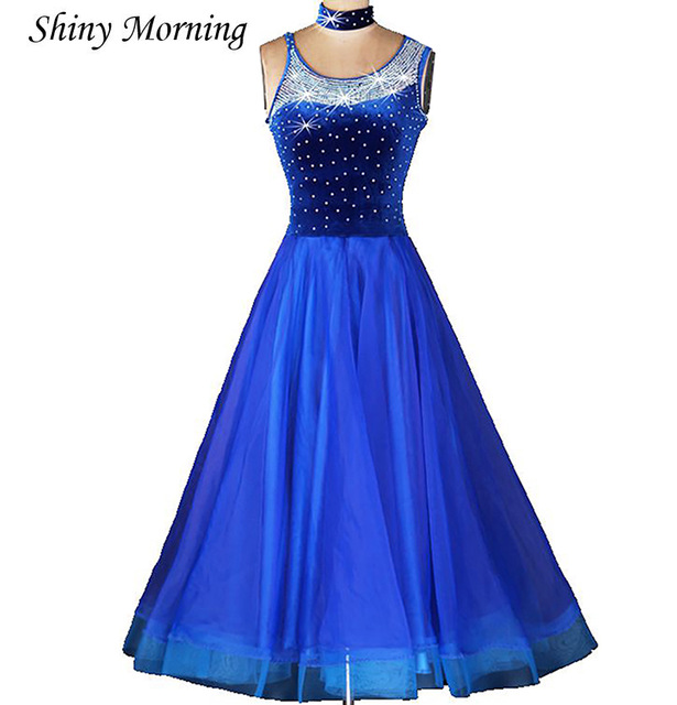 Ballroom dance costume senior diamond tango foxtrot dance dress for