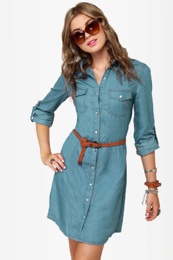 Cute Denim Dress - Shirt Dress - Chambray Dress - $53.00